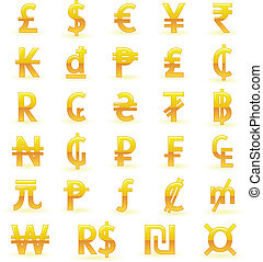 Set of golden currency symbols of the world: Pound, Dollar, Euro, Yen, Rupee, Kip, Dong, Peso, Lira, Cent, Rand, Cruzeiro, Hryvna, Tugrik, Baht, Naira, Guarani, Ruble, Franc, ECU, Yuan, Peseta, Guilder, Colon, Mill, Won, Real, Shekel, Generic Currency Symbol.