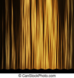 Golden curtain - Gold theater stage curtain with light and...