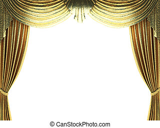 golden curtain opening scene made in 3d