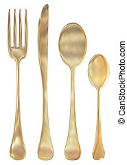 Golden cutlery set - Illustration of a set of golden cutlery