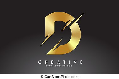 Golden D letter logo design with creative cuts. Creative ...