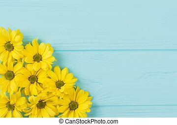 golden-daisy, コレクション, 上に, 青, wood.