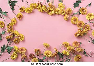 golden-daisy, 花, ∥ように∥, ボーダー, 上に, パステル, ピンク, バックグラウンド。, 花, pattern.