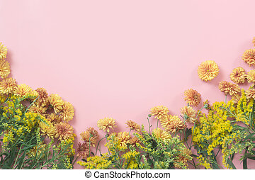golden-daisy, 花, ∥ように∥, ボーダー, 上に, パステル, ピンク, バックグラウンド。, 花, pattern., fall.