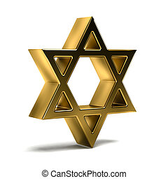 Golden David Star. Judaism Symbol. 3D Rendering Illustration