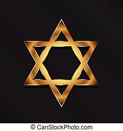 Golden David Star. Judaism symbol