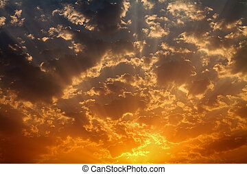 Golden Dawn Skies Cumulus Clouds