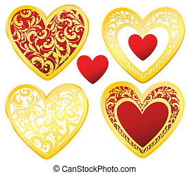 golden decorated hearts set