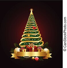 Golden decorative christmas tree with banner and decorations...