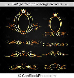 Golden decorative design elements. Vector.