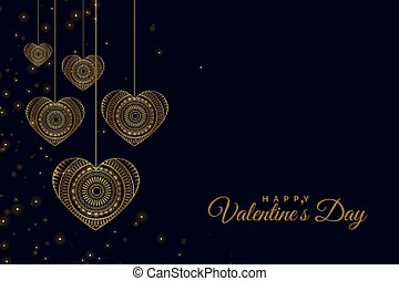 golden decorative hearts on black background design