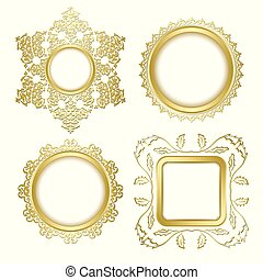 golden decorative vector frames with transparent shadow inside
