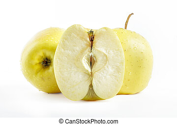 Golden delicious apples on white background - Golden...