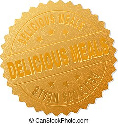 DELICIOUS MEALS gold stamp reward. Vector golden medal with DELICIOUS MEALS text. Text labels are placed between parallel lines and on circle. Golden surface has metallic effect.
