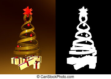 Golden design pine and some gifts with alpha channel