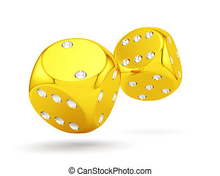 Golden dices - 3d render of golden dices isolated on white...