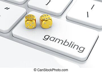 Golden dices icon on the keyboard. Gambling concept