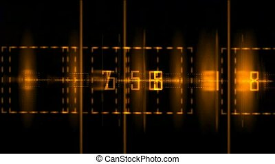 golden digital matrix in black background,used as finance background
