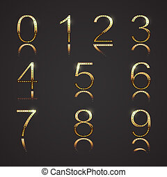 Golden digits with diamons. Set 3