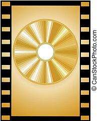 golden disc in a film strip