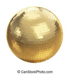 Golden disco ball on white