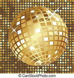 Golden disco ball - Shining golden disco ball on yellow...