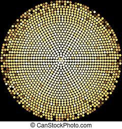 Golden disco balls halftone pattern background design