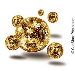 Golden disco mirror ball atomium