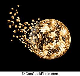 Golden disco mirror ball breaking into fragments