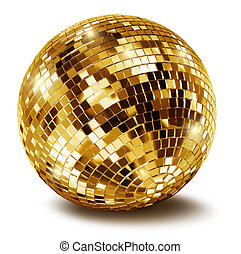 Golden disco mirror ball isolated on white background