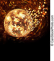 Golden disco mirror ball turning and breaking into fragments