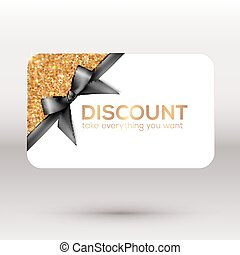 Golden discount card with black ribbon and bow
