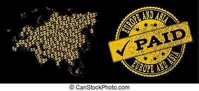 Golden Dollar Collage of Mosaic Map of Europe and Asia and Paid Grunge Stamp