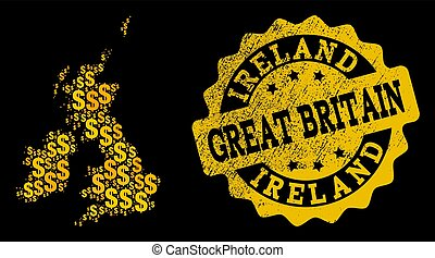 Golden Dollar Composition of Mosaic Map of Great Britain and Ireland and Distress Seal