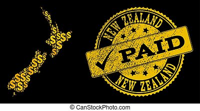 Golden Dollar Composition of Mosaic Map of New Zealand and Paid Grunge Seal Stamp