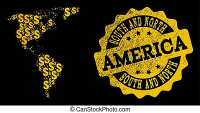 Golden Dollar Composition of Mosaic Map of South and North America and Textured Seal Stamp