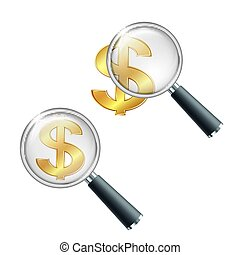 Golden Dollar currency sign with magnifying glass.