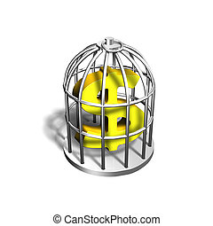 Golden dollar sign in the silver cage, 3D illustration -...