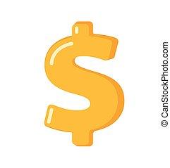 Golden dollar sign vector cartoon illustration.