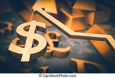 Golden dollar symbol and golden arrow up
