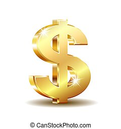 Golden dollar symbol isolated on white background.