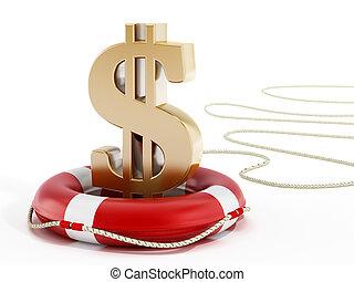 Golden dollar symbol on lifebelt. 3D illustration