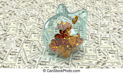 Golden dollar symbols fall into a glass piggy bank on a background of paper dollar bills. 3D animation