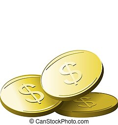 Golden dollars - Gold coins with dollar sign. Vector...