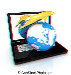 Golden Dolphin from the laptop. 3D illustration. Anaglyph. ...
