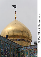 Golden dome of Fatima mosque in Qom, Iran