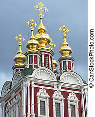 Golden domes of Novodevichiy convent in Moscow
