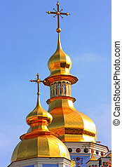 Golden domes of the blue cathedral in Kiev