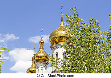Golden domes of the Orthodox church against the blue sky with a green tree in the foreground.