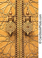 Golden door at the palace in fez